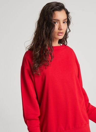 Pi π Oversize Basic Sweatshirt Kırmızı